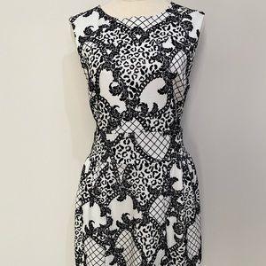 TOKITO White Black Animal Design Dress Size 12